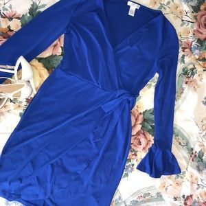 London Times Cobalt Wrap Dress - 4P - Never worn
